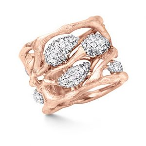 Mestergull Forest ring i 18 K Rosé gull pavé med 198 diamanter totalt 1 ct. TwVs LYNGGAARD Forest Ring