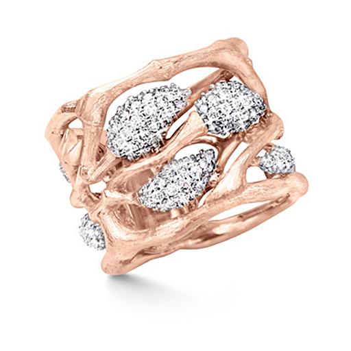 Mestergull Forest ring i 18 K Rosé gull pavé med 198 diamanter totalt 1 ct. TwVs LYNGGAARD Forest Ring