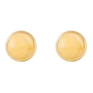 Mestergull Lotus 0 ørepynt i 18kt. gult gull med rav 7 mm LYNGGAARD Lotus Ørepynt