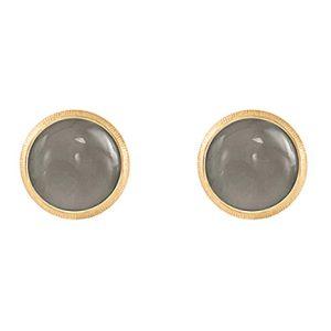 Mestergull Lotus 0 ørepynt i 18 K Gult gull med grå månesten 7 mm LYNGGAARD Lotus Ørepynt