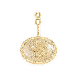 Mestergull Lotus vedheng til ørepynt i 18 K Gult gull med rutilkvarts 13x9mm Selges enkeltvis LYNGGAARD Lotus Ørepynt