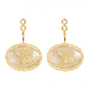 Mestergull Lotus vedheng par til ørepynt i 18 K Gult gull med rutilkvarts 13,x9mm LYNGGAARD Lotus Ørepynt