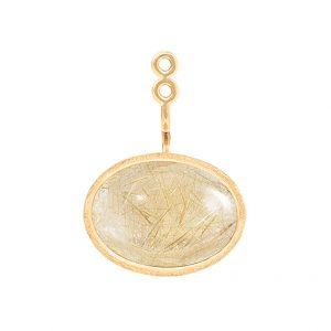 Mestergull Lotus vedheng til ørepynt i 18 K Gult gull med rutilkvarts 15x11mm Selges enkeltvis LYNGGAARD Lotus Anheng
