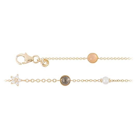 Mestergull Shooting stars armbånd i 18 K Gult gull med 12 diamanter totalt 0,10 ct. TwVs Blush/grå/hvit månesten, perle (16 - 20 cm) LYNGGAARD Shooting Stars Armbånd
