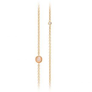 Mestergull Collier anke i 18 K Gult gull med 5 diamanter totalt 0,05 ct. TwVs Blush månesen 80 - 90 cm) LYNGGAARD Lotus Kjede
