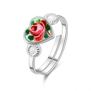 Mestergull Sølv ring regulerbar med emaljert roseblomst PIA & PER Ring
