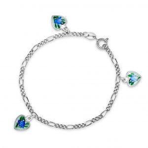 Mestergull Armbånd i sølv med charms i emaljerte hjerter i hvit og blåklokke PIA & PER Armbånd