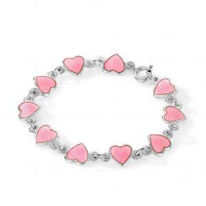 Mestergull Barnearmbånd i sølv og hjerter i rosa emalje PIA & PER Armbånd