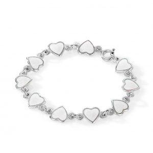 Mestergull Barnearmbånd i sølv og hjerter i hvit emalje PIA & PER Armbånd