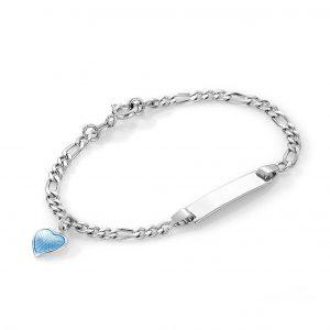 Mestergull Sølv og emalje armbånd med plate for gravering og charms med lyseblått hjerte PIA & PER Armbånd