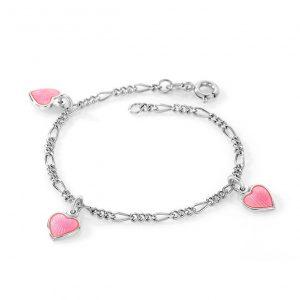 Mestergull Sølv armbånd til barn med charms i rosa emalje PIA & PER Armbånd