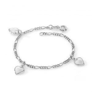 Mestergull Sølv armbånd til barn med charms i hvit emalje PIA & PER Armbånd