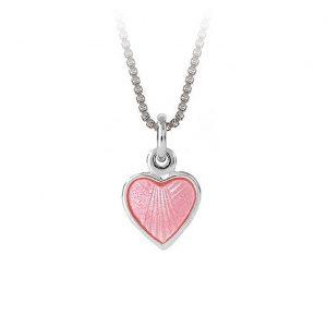 Mestergull Lite og søtt sølv hjerte anheng med rosa emalje PIA & PER Anheng