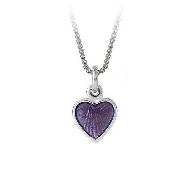 Mestergull Lite og søtt sølv hjerte anheng med lilla emalje PIA & PER Anheng