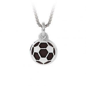 Mestergull Fotball i sølv og sort emalje til gutt PIA & PER Anheng