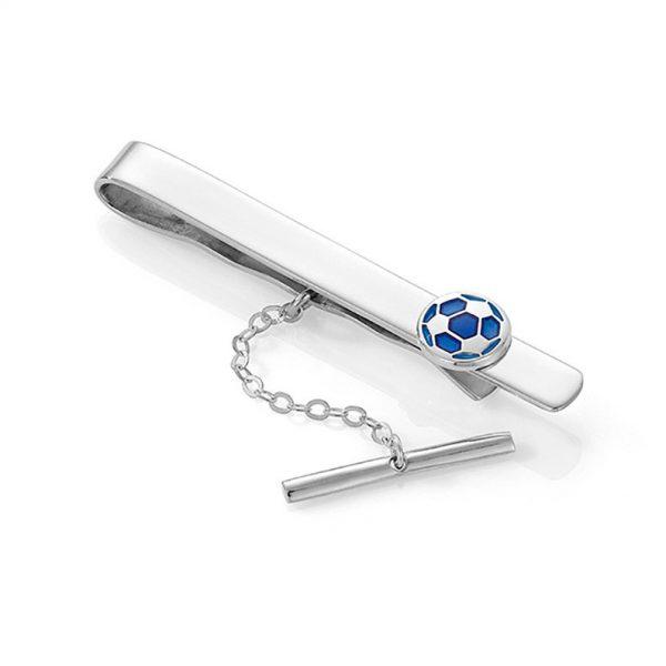 Mestergull Slipsnål med blå fotball i sølv og emalsje PIA & PER Slipsnål