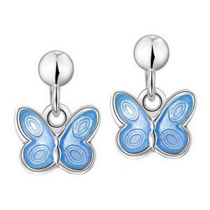 Mestergull Sølv ørepynt heng med sommerfugl i lys blå emalje PIA & PER Ørepynt