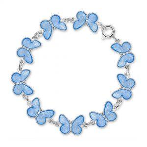 Mestergull Armbånd med blå sommerfugler i sølv og emalje PIA & PER Armbånd