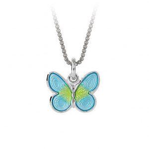 Mestergull Anheng med sommerfugl i sølv med turkis og lime emalje PIA & PER Anheng