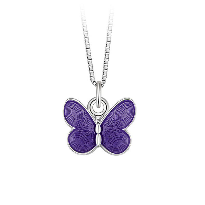 Mestergull Anheng med sommerfugl i sølv og lilla emalje PIA & PER Anheng