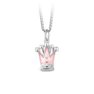 Mestergull Anheng med rosa kroner som charms i sølv og emalje PIA & PER Anheng