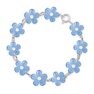 Mestergull Sølv armbånd med blomster i lys blå emalje PIA & PER Armbånd