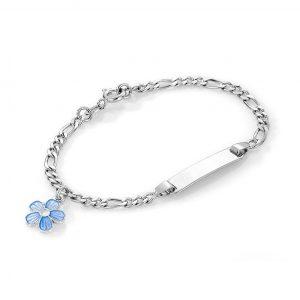 Mestergull Sølv og emalje armbånd med plate for gravering og charms med lys blå blomst PIA & PER Armbånd