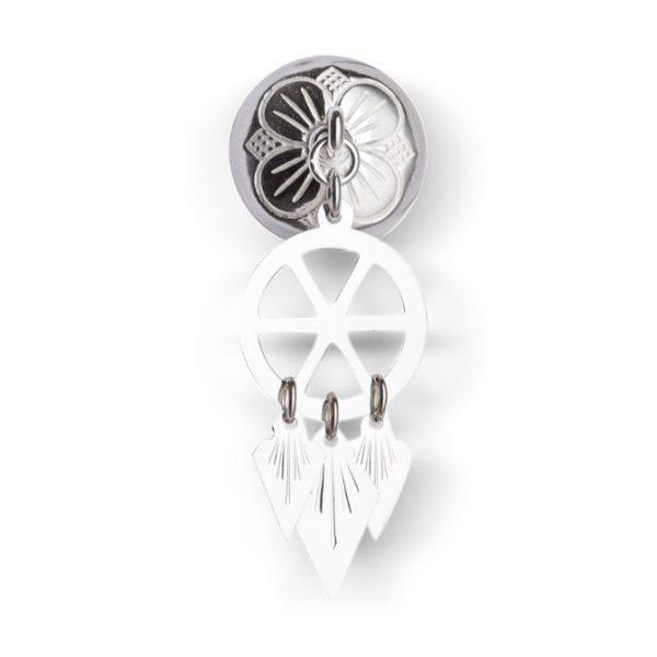 Mestergull Halssølje i hvitt sølv med spirløv. Mye brukt i Trønderlag. NORSK BUNADSØLV Sølje