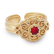 Mestergull Bunadsring i forgylt sølv med tradisjonsrikt filigransarbeid og rød sten. Ringen er regulerbar og passer alle størrelser. NORSK BUNADSØLV Ring