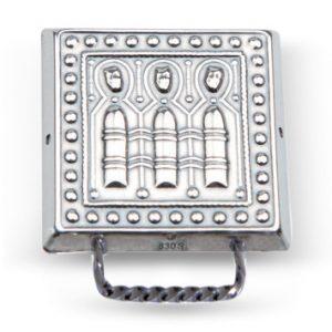 Mestergull Veskestøl i oksidert sølv med smal hempe for Nordmøre. NORSK BUNADSØLV Belte