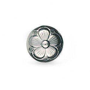 Mestergull Bunadsknapp med bunn med den tradisjonelle 5-blads rosen i oksidert sølv. Mye brukt til bunadene rundt om i landet og finnes i flere størrelser. NORSK BUNADSØLV Knapp
