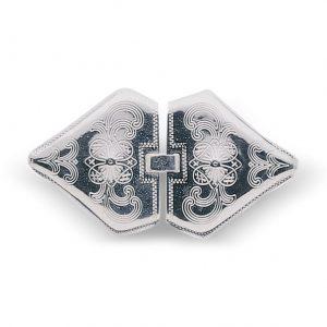 Mestergull Capespenne til Buskerud i hvitt sølv NORSK BUNADSØLV Spenne