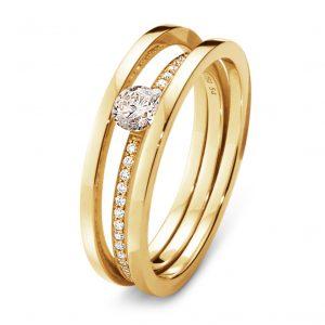 Mestergull HALO enstensring i 18 kt. gult gull med brilliantslipte diamanter. Antall av diamanter og vekt i karat varierer med ringst?rrelsen GEORG JENSEN Halo Ring