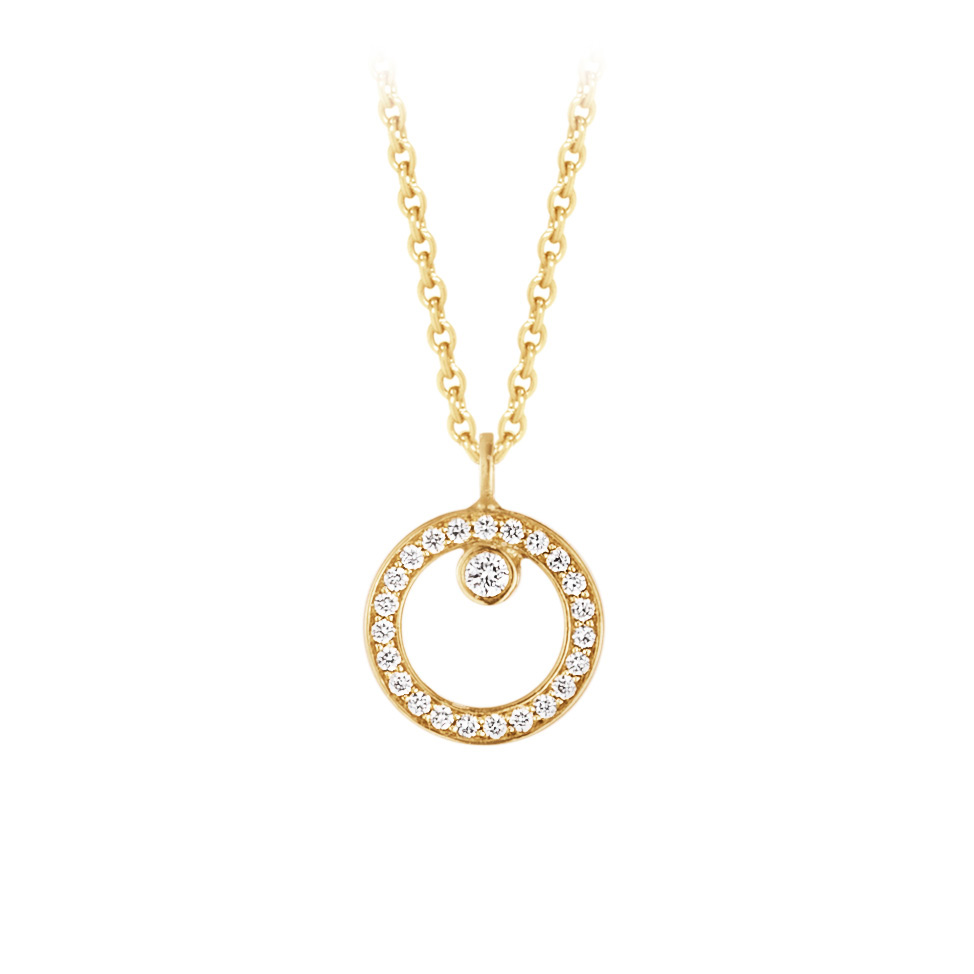 Mestergull HALO anheng i 18 kt. gult gull med brilliantslipte diamanter GEORG JENSEN Halo Anheng