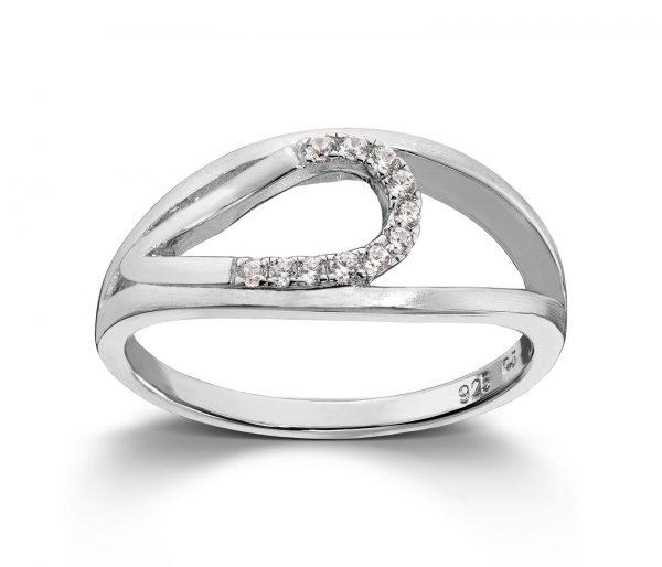 Mestergull Delikat ring i rhodinert sølv med cubic zirkonia GID Ring