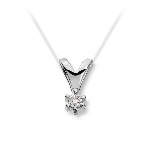 Mestergull Klondike er enstens serien med de gode prisene. Et elegant design med matchende diamantring, anheng og ørepynt i gult eller hvitt gull. Diamanten velger du i størrelsene 0,03 ct. til 0,20 ct. KLONDIKE Anheng