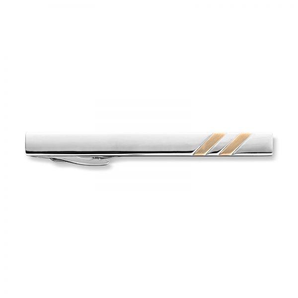 Mestergull Flott rhodinert slipsnål med forgylt detalj MISTER Slipsnål