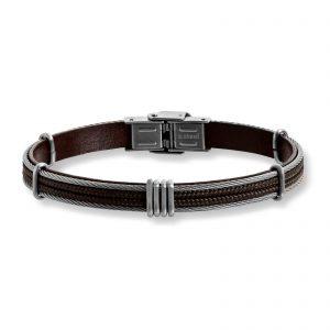 Mestergull Tøft armbånd til herre i brunt skinn og stål detaljer MESTERGULL Armbånd