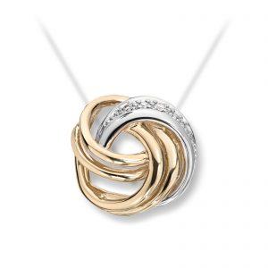 Mestergull Klassisk anheng knute i gult gull med rhodinering og diamanter MESTERGULL Anheng