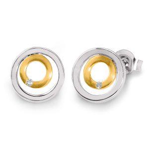 Mestergull Flott ørepynt i rhodinert og forgylt sølv med diamanter VIVENTY Ørepynt