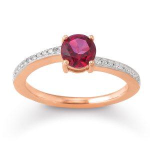 Mestergull Flott ring i rhodinert sølv med rød topas og cubic zirkonia VIVENTY Ring