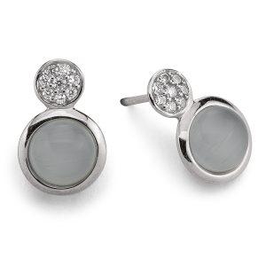 Mestergull Lekker ørepynt i rhodinert sølv med grå syntetisk månesten og cubic zirkonia VIVENTY Ørepynt