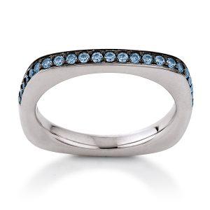 Mestergull Tøff ring i rhodinert sølv med blå cubic zirkonia VIVENTY Ring
