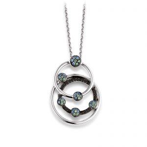 Mestergull Flott anheng i rhodinert sølv med grønne og sorte cubic zirkonia VIVENTY Anheng