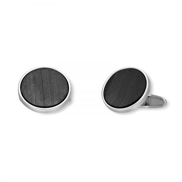 Mestergull Enkle runde mansjettknapper i rhodinert sølv med karbon MESTERGULL Mansjettknapp