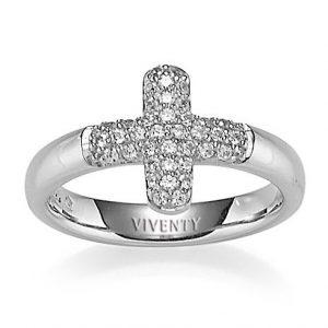 Mestergull Flott ring, kors, i rhodinert sølv med cubic zirkonia VIVENTY Ring