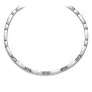 Mestergull Flott collier i rhodinert sølv med cubic zirkonia VIVENTY Kjede
