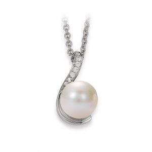 Mestergull Elegant anheng i rhodinert sølv med ferskvannsperle og cubic zirkonia VIVENTY Anheng