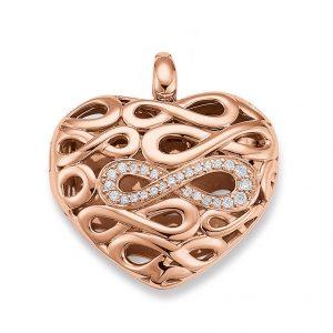Mestergull Fin hjerte medaljong i rosèforgylt sølv med cubic zirkonia VIVENTY Anheng