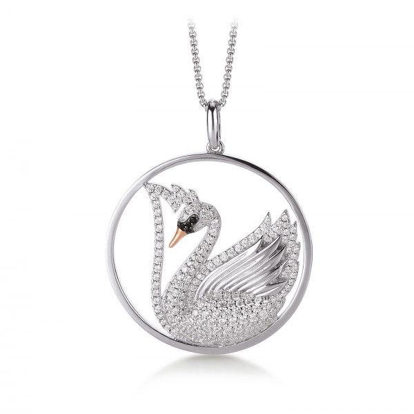 Mestergull Trendy anheng, Svane, i rhodinert sølv med forgylte detaljer og hvite og sorte cubic zirkonia VIVENTY Anheng